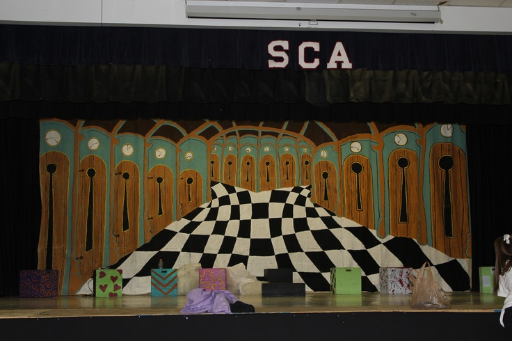 Huge 12ft x 27ft backdrop I painted for my son's school play of Alice in Wonderland