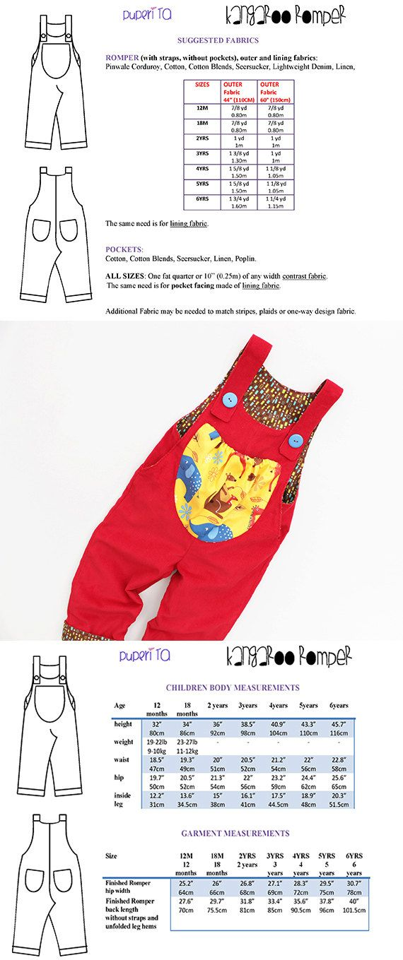 XMAS Promo KANGAROO Romper sewing pattern Pdf Overall by PUPERITA, $5.00