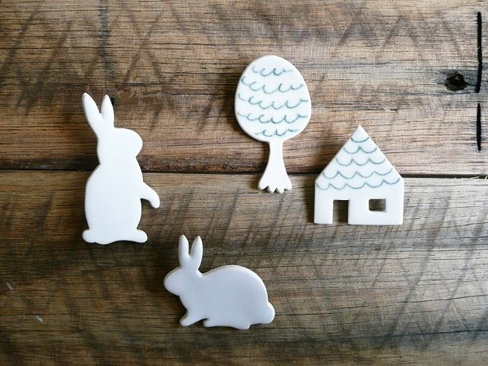 Ceramic - White Bunny Rabbit Brooch