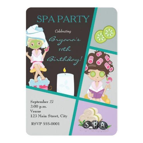 Spa Birthday Party Invitations Spa Beauty Girls Salon Makeup Party Invitation
