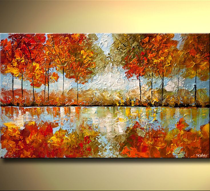 """ORIGINAL Abstract Contemporary Blooming Tree Painting Modern Landscape palette knife Art Indian Summer by Osnat Tzadok 40"""". $380.00, via Etsy."""