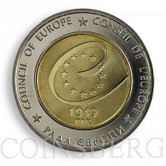 Ukraine 5 UAH 60 Years of the Council of Europe Bimetal 2009 Coin