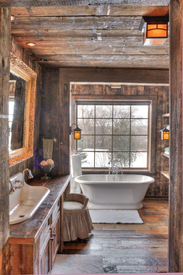 The Coziest Bathroom Second Best To Wallpaper Winter Woodland Escape Cabin Bathrooms