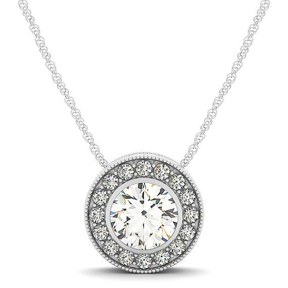 Vintage Bezel Halo Diamond Pendant Necklace 14k White Gold                                                                                                                                                     More