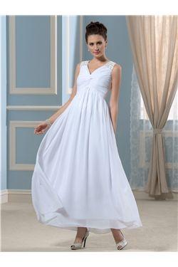 Sleeveless Ankle-Length A-line Elegant & Luxurious Zipper-up Empire Beach  Garden/Outdoor Wedding Dress