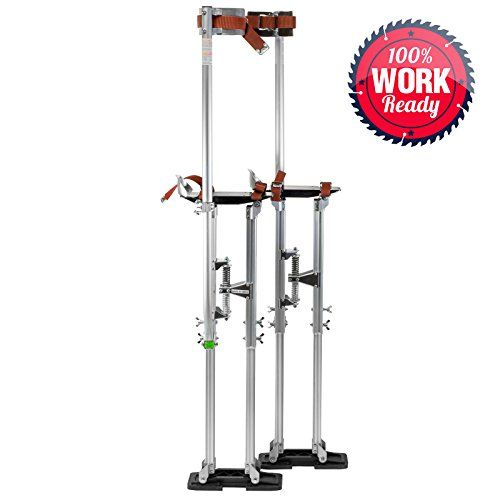 "Drywall Stilts Painters Walking Taping Finishing Painting Tools Adjustable Aluminum 36"" - 48""  Precision Manufactured - Crafted from high-grade aluminum, these stilts are light enough to use all day, but sturdy enough to last for years  Versatile - Suitable for drywall, painting, wiring, and much more  Sturdy - A non-rocking frame with overlapping, industrial strut tubes is paired with an adjustable, dual-spring flex-system for excellent mobility  Adjustable Height - Using a wing-nut d..."