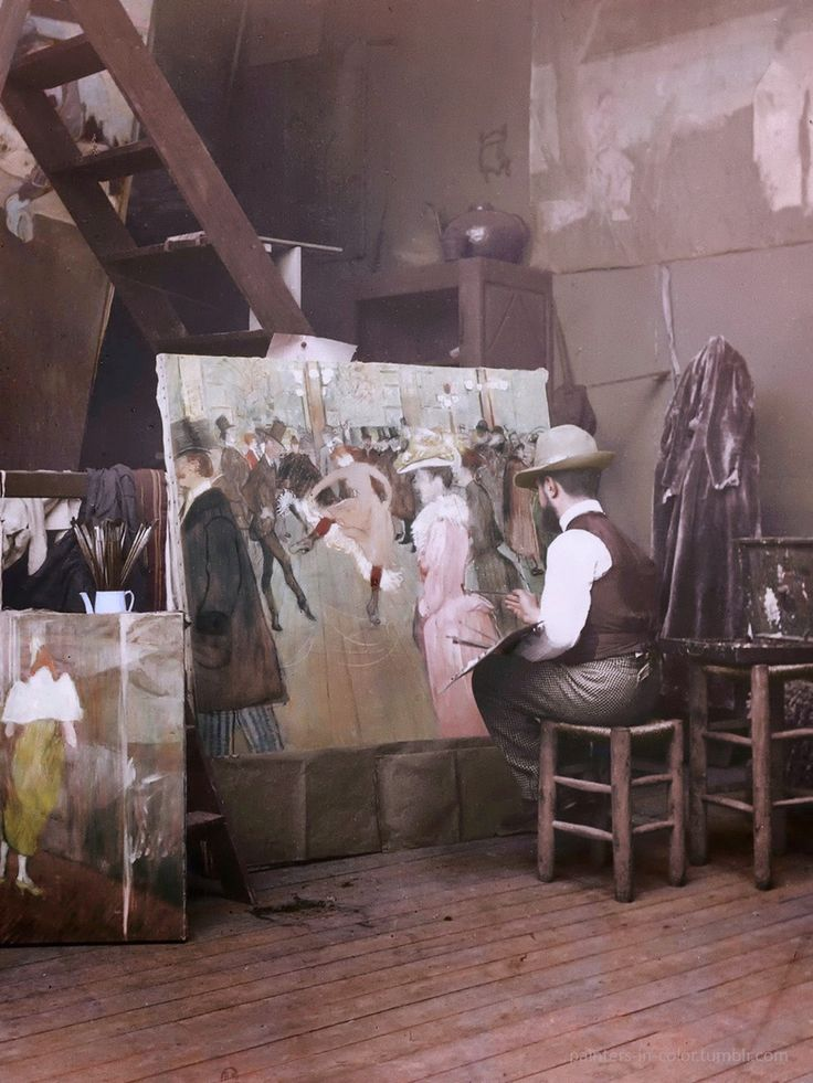 "Henri de Toulouse-Lautrec painting ""At the Moulin Rouge: The Dance"". Photographed by Maurice Gilbert, 1890s."