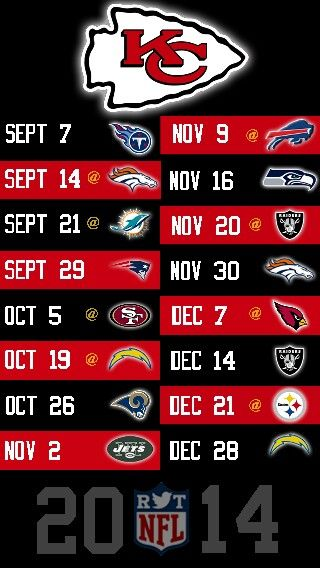 NFL 2014 KANSAS CITY CHIEFS IPHONE 5 WALLPAPER SCHEDULE