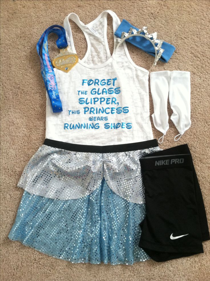 Disney princess running costume, cinderella running outfit.  Tank is from stronggirlclothing etsy shop, skirt is from rockcityskirts etsy shop, and nike pro combat shorts to go under. Was so comfortable to run half marathon in!