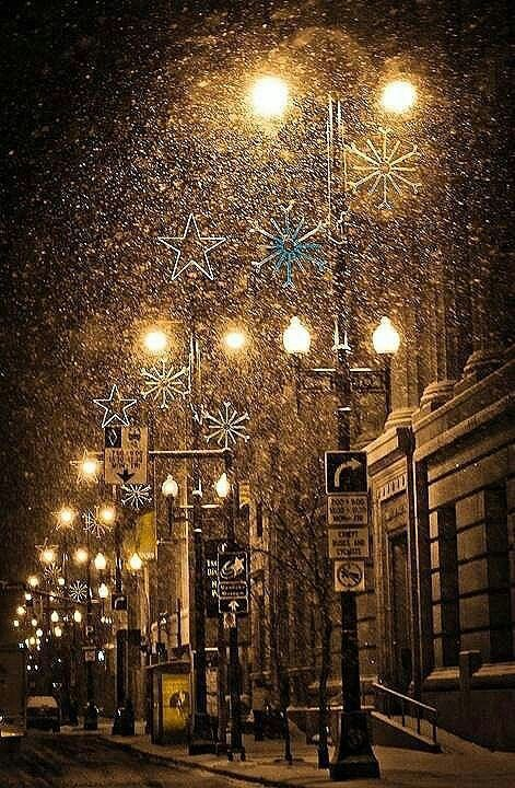 Snowy street with Christmas Lights /  - - Your Local 14 day Weather FREE > http://www.weathertrends360.com/Dashboard  No Ads or Apps or Hidden Costs.