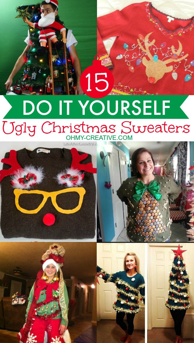 84 best tacky holiday sweaters images on pinterest la la la merry 15 do it yourself ugly christmas sweaters you can make get creative and make your solutioingenieria Image collections