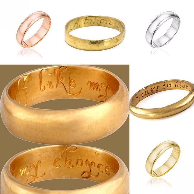 Posey rings with inscriptions to exchange between lovers || @omigoldnyc has stunning #wedding #band #silhouette and is #handmade in the USA out of #recycled #gold || #rose #white #green #platinum #yellow #weddingband