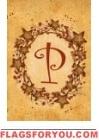 P - Vine / Berries Monogram Garden Flag