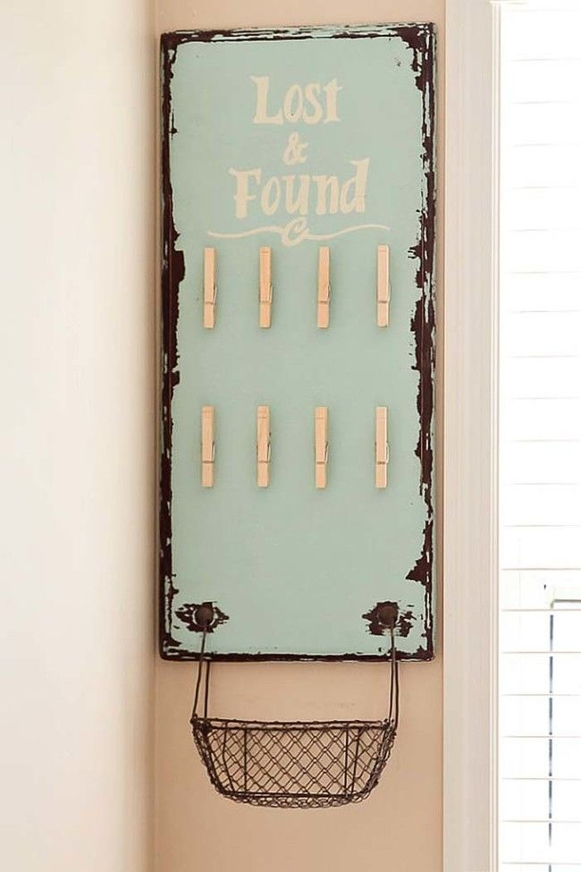 A DIY lost-and-found board keeps track of loose socks for your family.