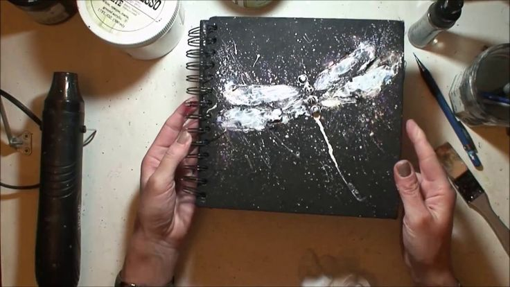 Black Journal cover - painting with Opal Magic Iridescent Acrylics