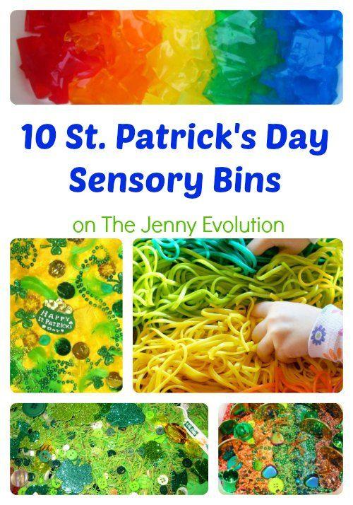 10 St. Patrick Day Sensory Bins #stpatrick #sensory #sensorybin