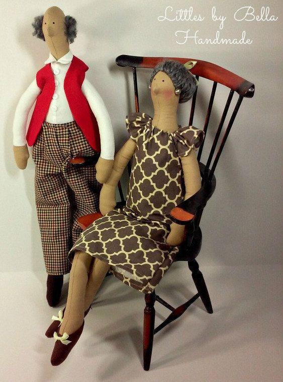 Grandmother doll tilda style doll grandfather by littlesbyBella ☆
