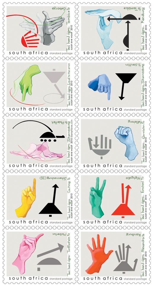 Taxi Hand Signs Stamp Issue from South Africa. South Africa is probably the only country in the world that has special hand signals that indicate to the taxi driver where his prospective client wants to go.