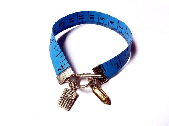 Number Cruncher: tape measure bracelet with calculator and pencil charms by EllipsisIt on Etsy