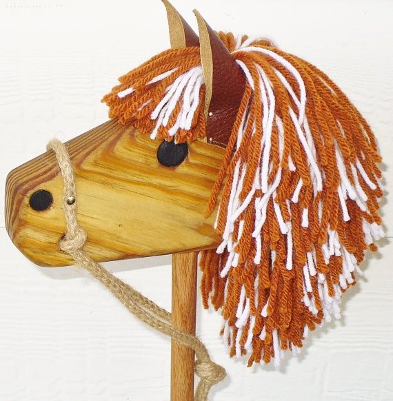 Wooden Stick Horse - Waldorf Toy - Hobby Horse - Imagination Toy For Pretend Play - Texas Longhorn Edition