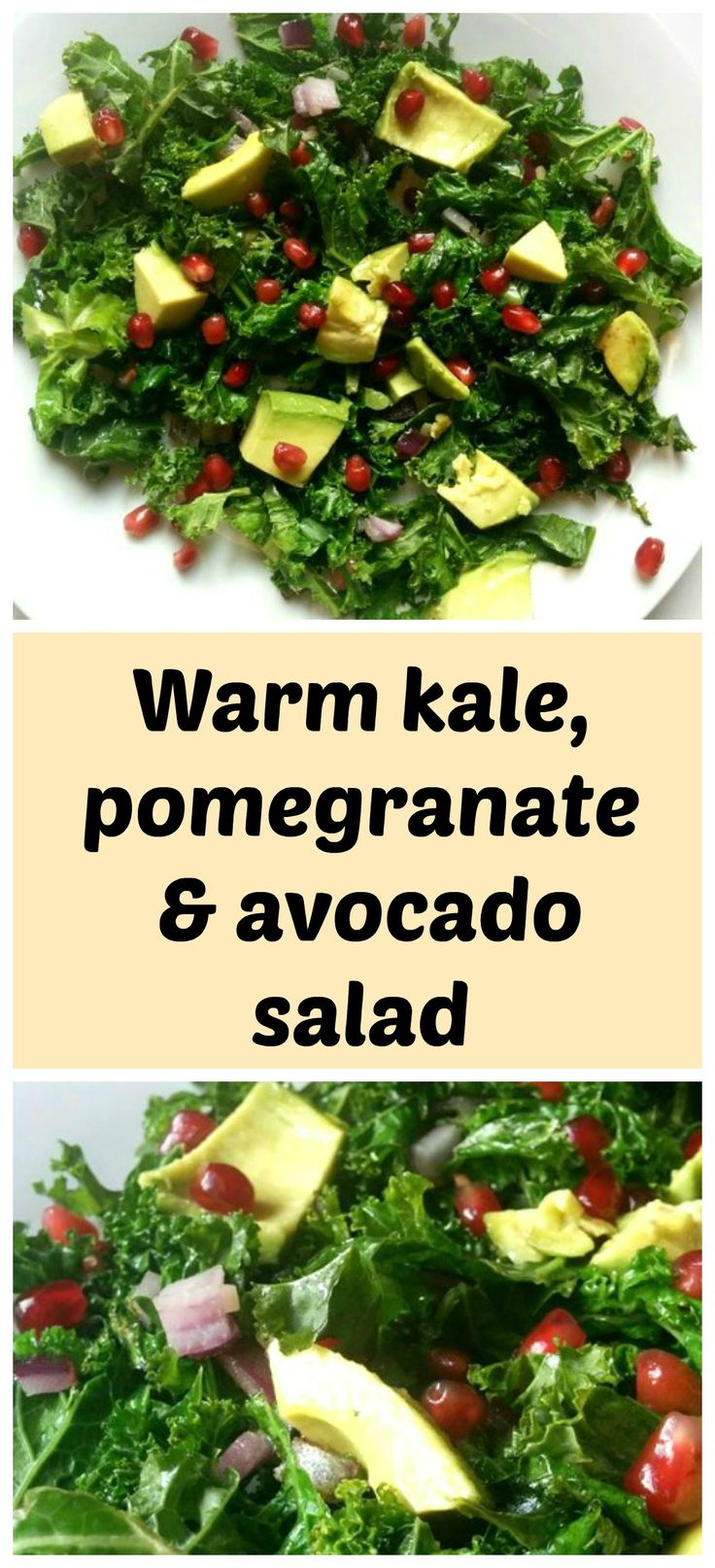 Warm kale, pomegranate and avocado salad is a healthy and satisfying lunch or side dish.