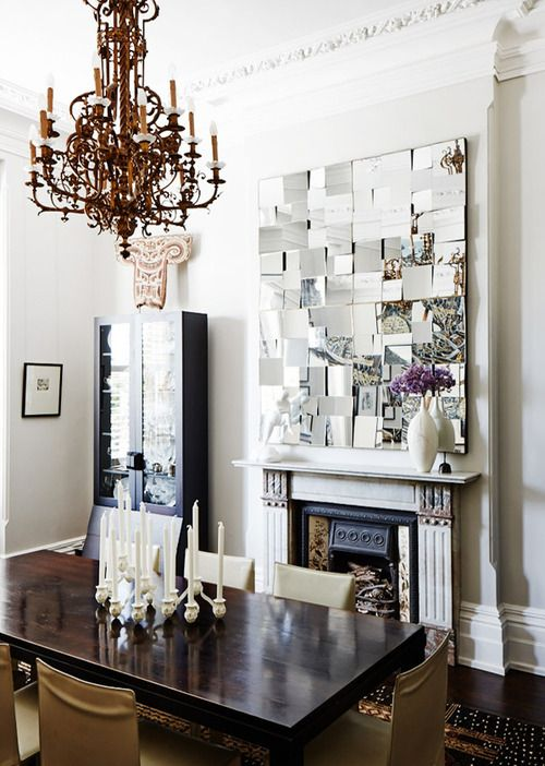 Source: Design Files What a cool place to have a dinner party! Loving the mirror over the mantle piece.