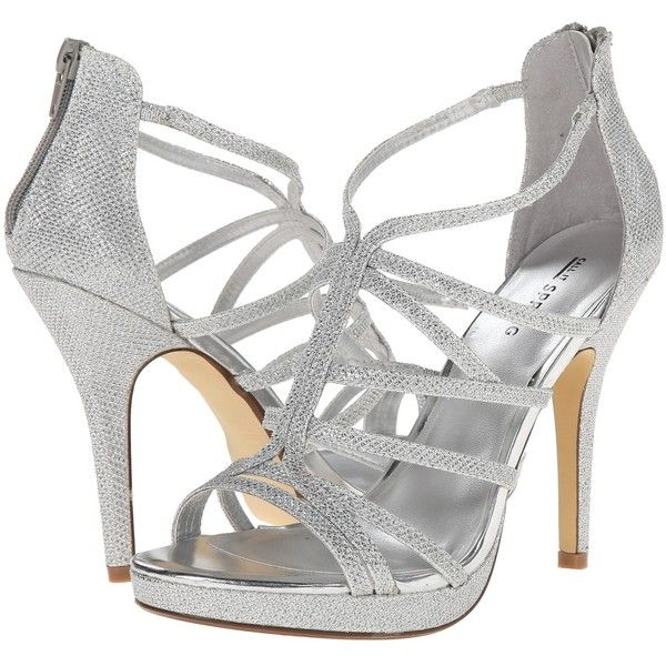 Call it SPRING Belloli High Heels, Silver ($25) ❤ liked on Polyvore featuring shoes, sandals, silver, strappy high heel sandals, silver sandals, silver shoes, women shoes and high heel sandals