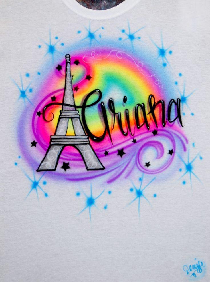 airbrush eiffel tower name rainbow neon glow in the dark
