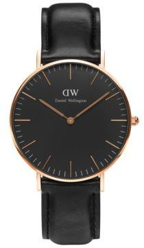 Daniel Wellington Classic Black Sheffield Rose Gold and Leather Strap Watch, 36mm
