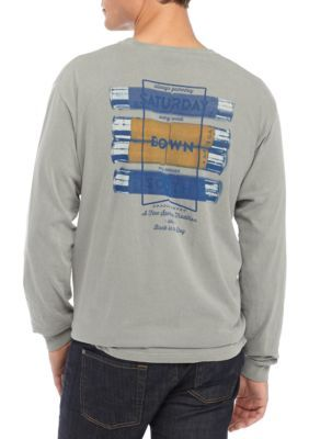 Saturday Down South Men's Long Sleeve Pocket Tee Shirt - Gray - 2Xl