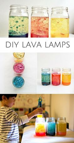 DIY Lava Lamps Kids Can Make. A fun and easy science experiment for kids! Add extra sparkle and fun by adding glitter.