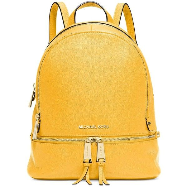 Amazon.com: MICHAEL Michael Kors Women's Small Rhea Backpack: Shoes ($199) ❤ liked on Polyvore featuring bags, backpacks, daypack bag, yellow backpack, rucksack bags, day pack backpack and backpack bags
