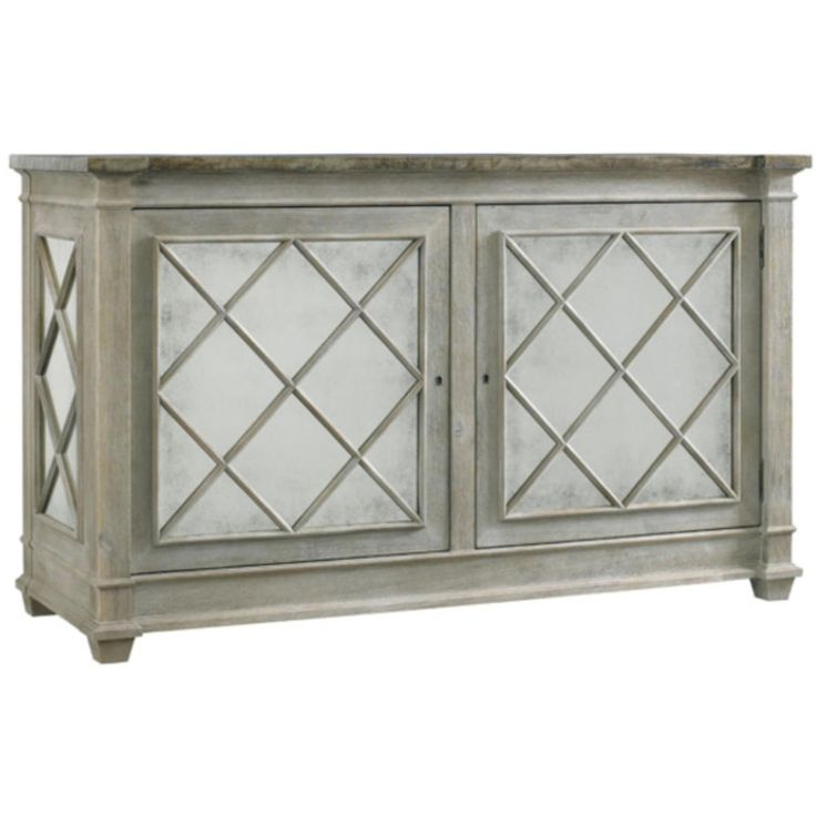 The Addison Server has all the magic of an old world antique with its zinc covered top enhanced with nails, aged grey finish, antique mirror paneled doors and side panels with diamond grill work.