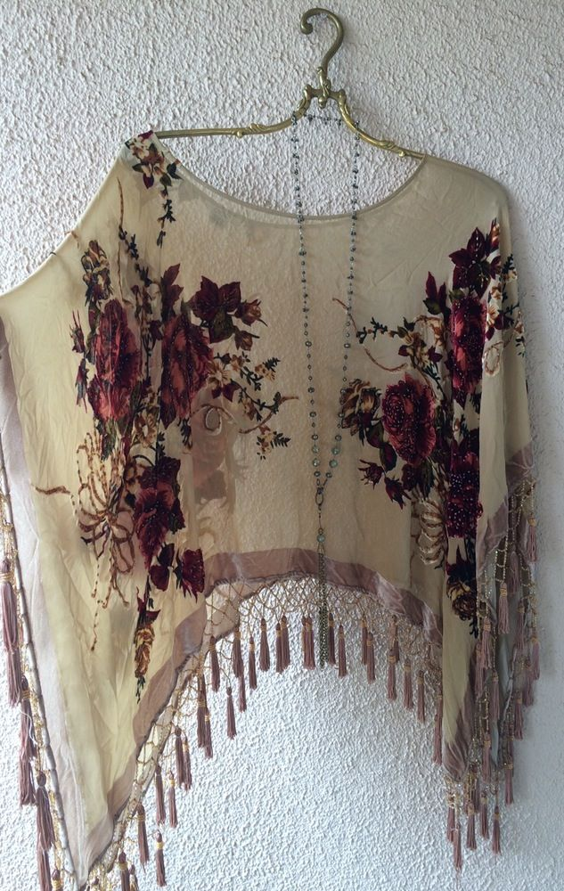 Image of Made in Paris Gypsy Stevie Nicks beaded fringe romantic velvet peasant…