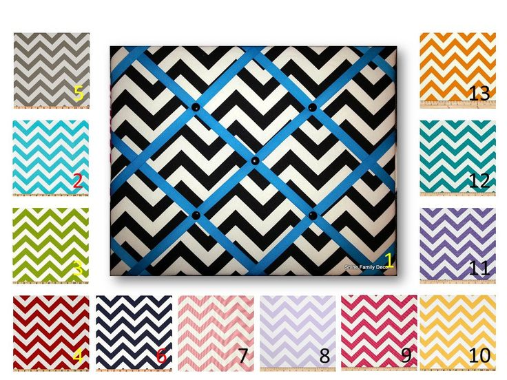 Chevron Print French Memo Board  with Ribbon 16 x 20  -  Bulletin Board - Your choice of fabric and  ribbon colors - FREE Domestic Shipping - pinned by pin4etsy.com