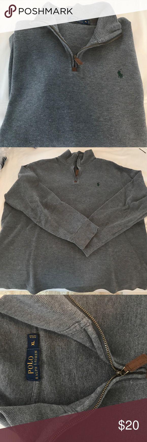 Ralph Lauren Polo Half Zip Sweater Gray (green horse) Ralph Lauren Polo Half Zip Sweater.  Great condition! 100% cotton. Polo by Ralph Lauren Sweaters Zip Up
