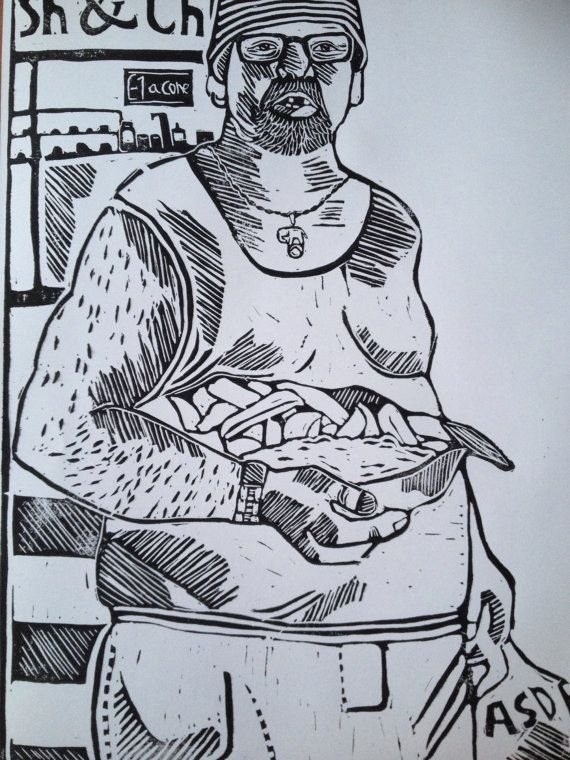 Linocut portrait of man with fish and chips