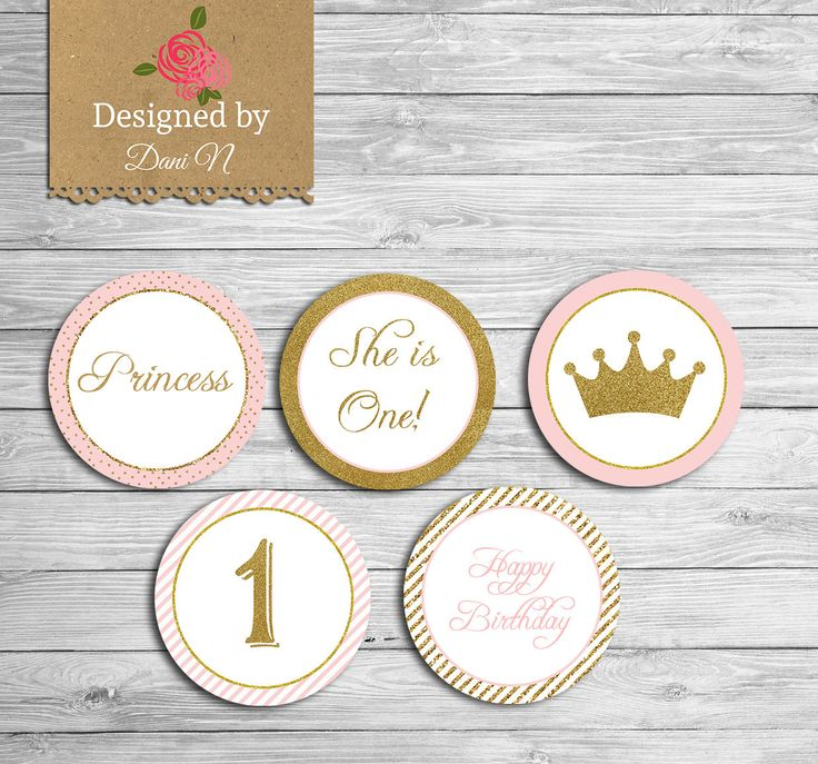 New to DesignedbyDaniN on Etsy: Princess Birthday Cupcake topper Instant Download Pink and gold glitter sparkle printable party Any Age Birthday (6.00 USD)