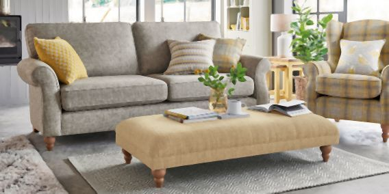 Buy Ashford Extra Large Footstool Boucle Weave Light Ochre Low Turned - Light from the Next UK online shop