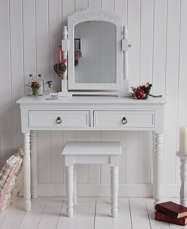 Charming Return To New England White Dressing Table With Antique Brass Handles Awesome Design