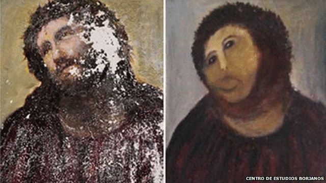 BBC News - Spanish fresco restoration botched by amateur: An elderly parishioner has stunned Spanish cultural officials with an alarming and unauthorised attempt to restore a prized Jesus Christ fresco. The once-dignified portrait now resembles a crayon sketch of a very hairy monkey in an ill-fitting tunic.