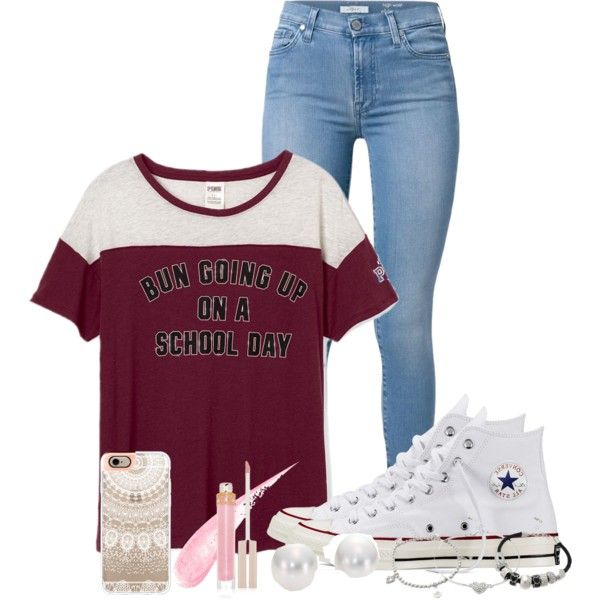 messy buns & converse by nina4ever14 on Polyvore featuring polyvore, fashion, style, 7 For All Mankind, Converse, Mikimoto, Lipsy, Casetify, Stila and clothing