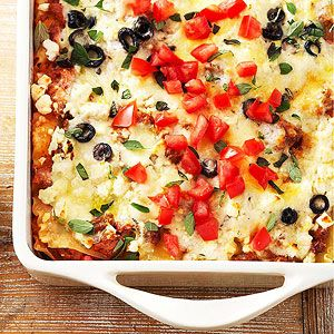 Greek-Style Lasagna You can use lamb or beef in this hearty main dish casserole recipe.