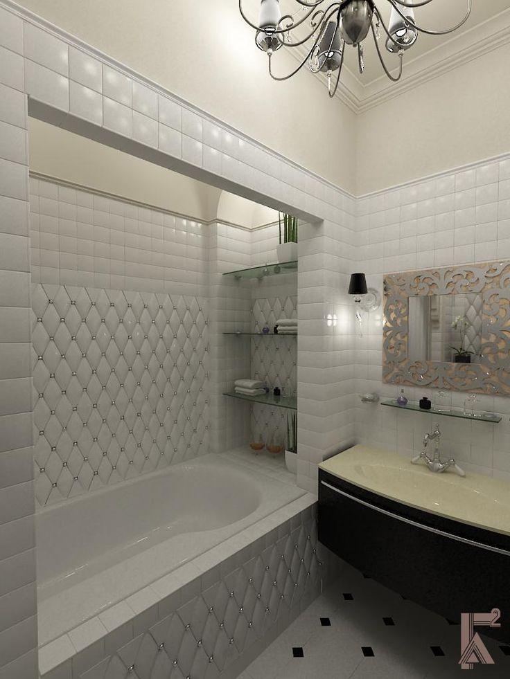 ванная - ниша с полочками