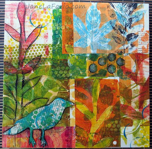 JaneVille - Jane LaFazio - Oh, I'm excited! I've started a new series. Collages of my gelli prints, mounted on 12x12x1 inch board.