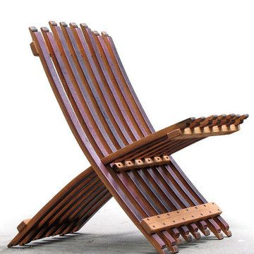 smart upcycle/folding wine barrel chair by whit mcleod made by hand from salvaged 70-gallon oak wine barrels