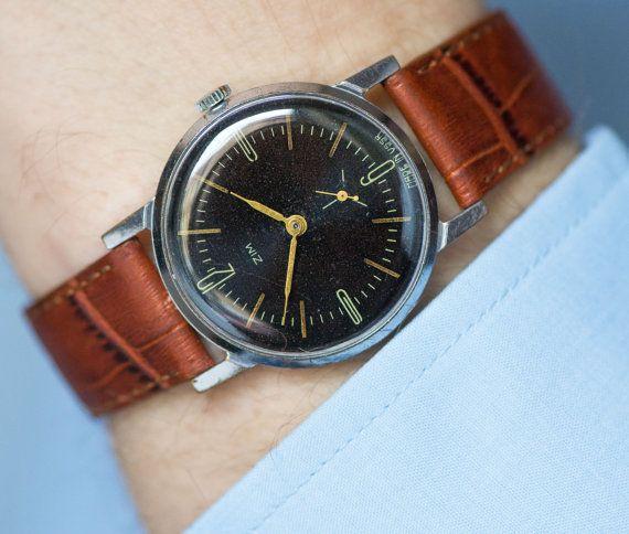 Black classic men's watch vintage gent's watch ZIM by SovietEra
