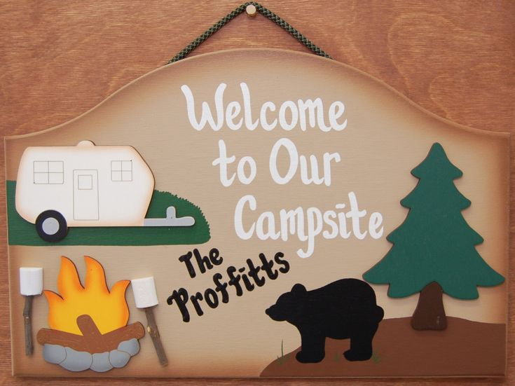 Welcome - Campsite sign, with family name
