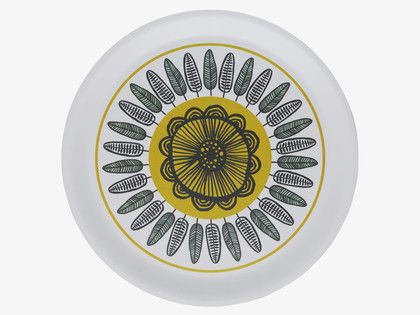 FREDA MULTI-COLOURED Wood White floral-patterned round tray - HabitatUK