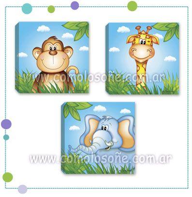MODELO ANIMALES 2 Impresos en tela vinilica y montados en bastidor de madera COMO LO SONÉ... www.comolosoñe.com.ar